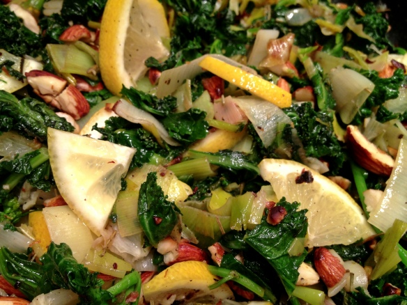 Leek, Kale, Almond and Lemon Stuffing