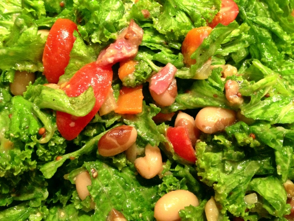 Yellow Eyed Bean and Mustard Green Salad