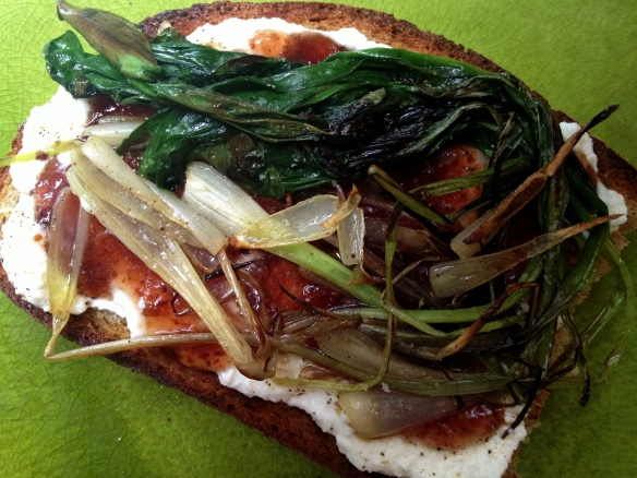 Ramp, Fig and Ricotta Tartine