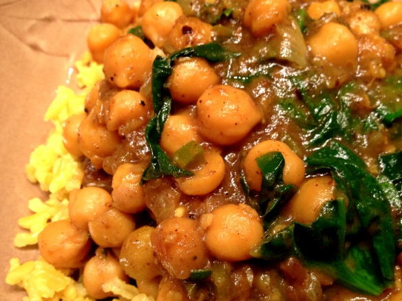 Sweet and Sour Curried Chickpeas with Spinach