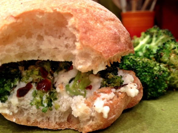 Roasted Broccoli and Ricotta Panino