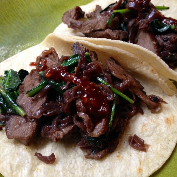 Leftover Steak and Kale Tacos