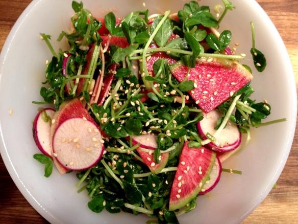 Pea Shoot and Radish Salad