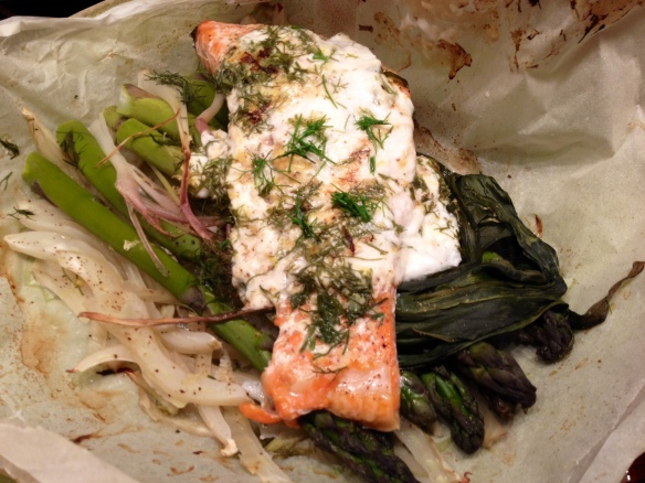 Salmon Fennel Aspargus and Ramps en Papillote