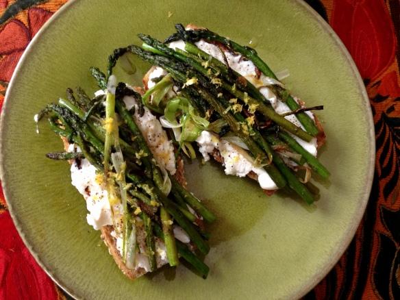 Asparagus Scallion and Ricotta Tartine