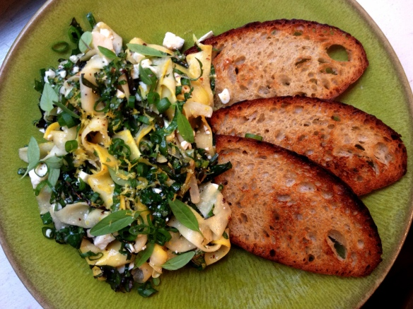 Summer Squash and Kale Bruschetta