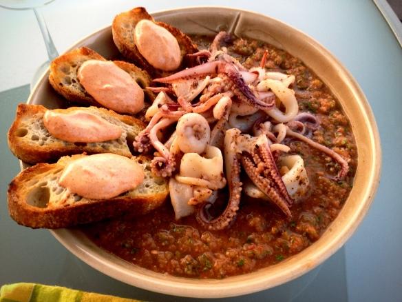 Gazpacho Calamari Paprika Aoili Crostini