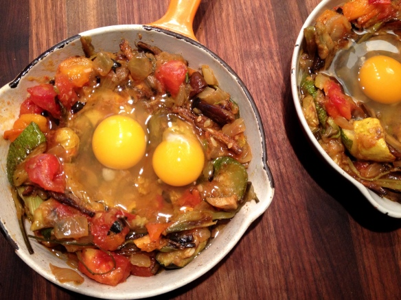 Ratatouille Shirred Eggs Before
