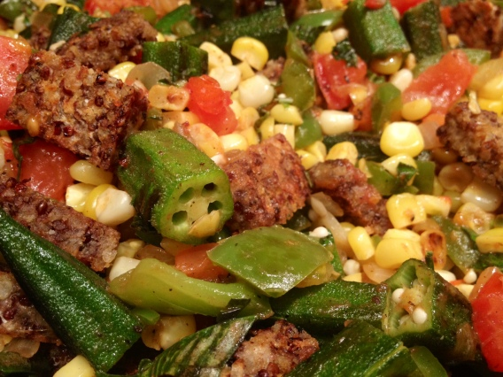 Tempeh Corn and Okra Succotash