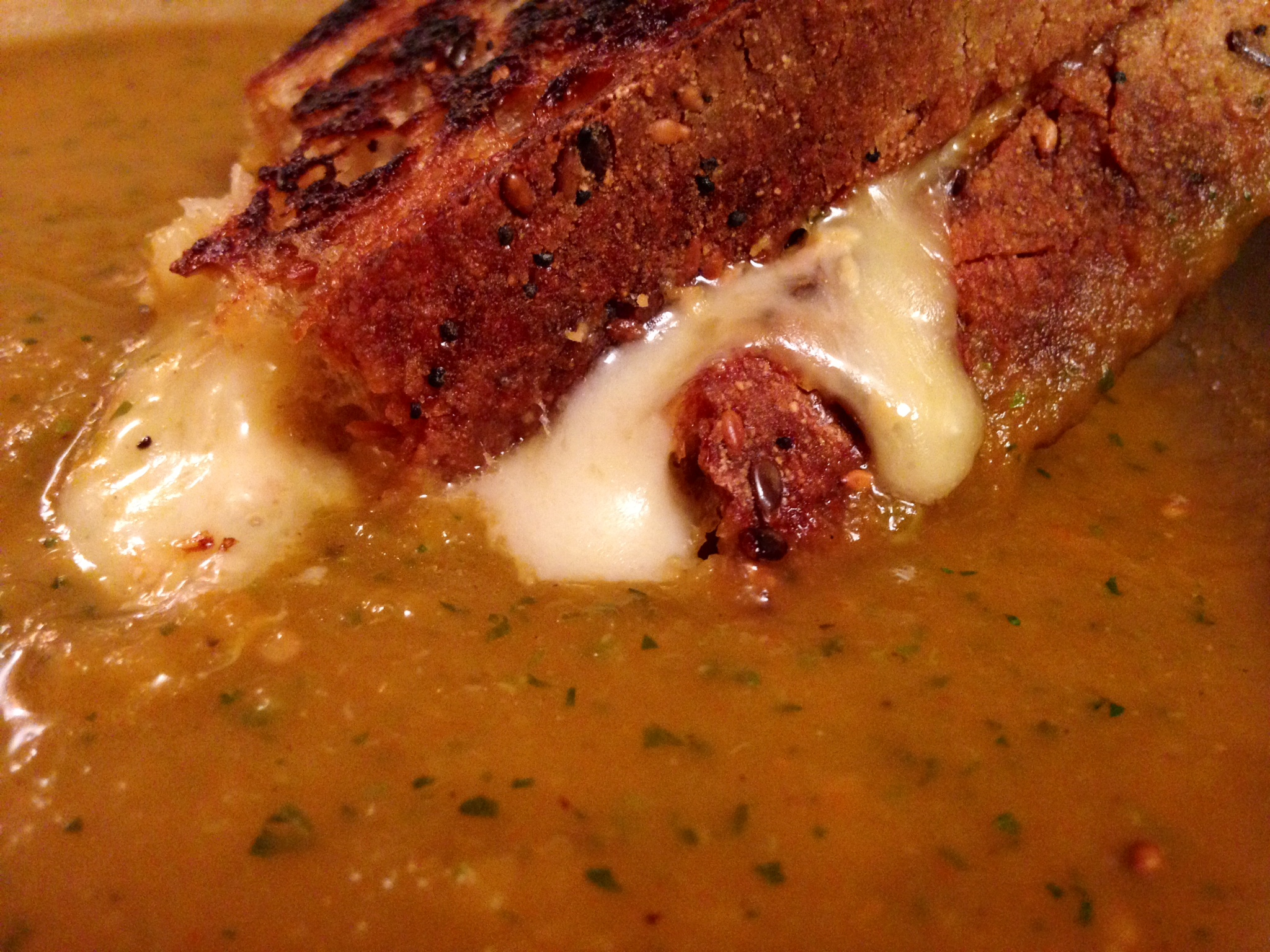 Roasted Eggplant and Tomato Soup with Grilled Cheese