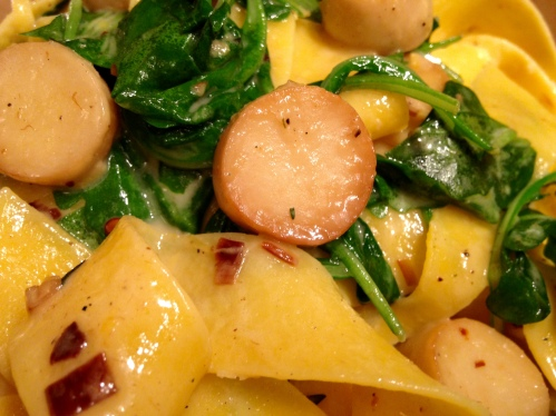 King Oyster Mushroom and Arugula Egg Pappardelle