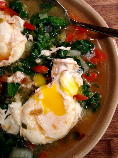 Miso-Poached Eggs with Bok Choy and Tatsoi
