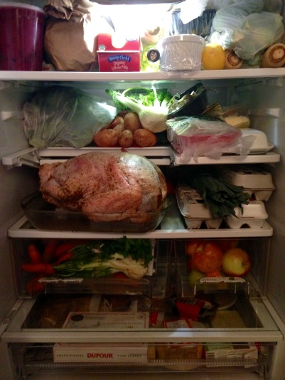 Packed Thanksgiving Fridge