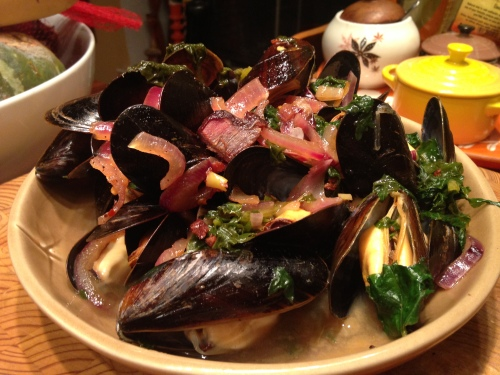 Apple Cider-Braised Mussels with Kale & Bacon