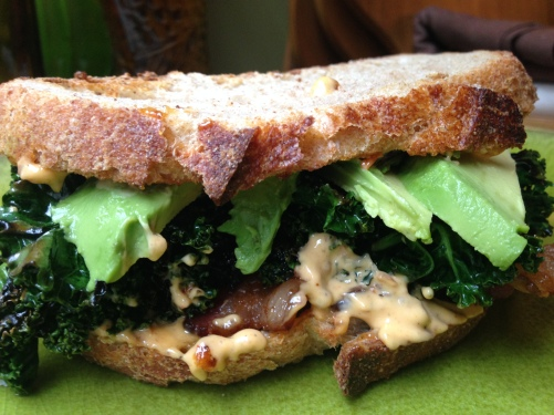 Bacon Kale and Avocado Sandwich