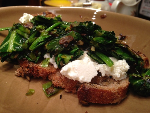 Baby Collard and Ricotta Bruschetta