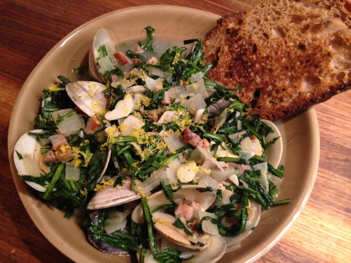 Steamed Clams with Dandelion Greens and Hog Jowl