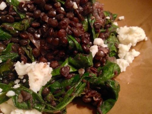 Beluga Lentils, Lamb's Quarters, Caramlized Red Onion and Feta