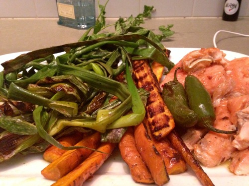 Grilled Salmon, Carrots and Scallions
