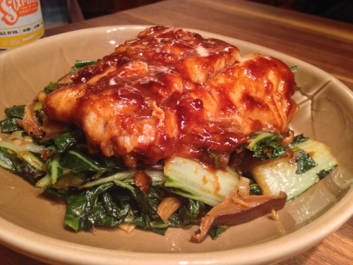 Miso Hake with Charred Bok Choy and Shiitakes
