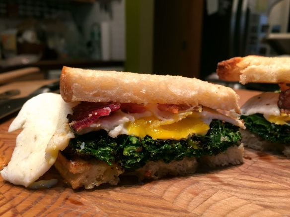 Bacon Egg and Kale Sandwich