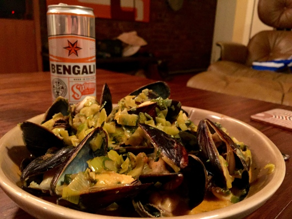 Beer-Braised Red Curry Mussels