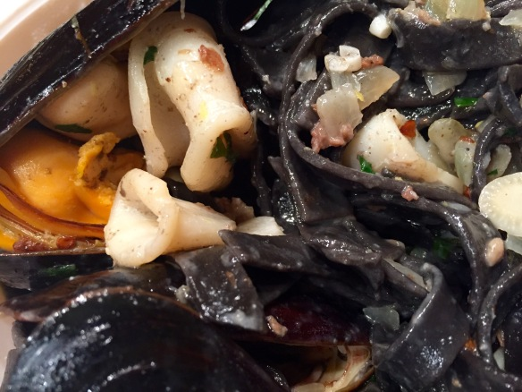 Squid Ink Pasta with Mussels and Calamari